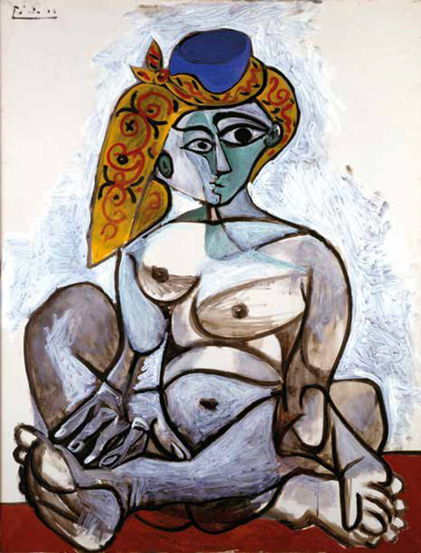 Pablo Picasso, Femme nue au bonnet turc, 1er décembre 1955. Donation Louise et Michel Leiris, 1984—Musée national d'art moderne / Centre de création industrielle—en dépôt au musée national Picasso-Paris. Photo © Centre Pompidou, MNAM-CCI, Dist. RMN-Grand Palais / Béatrice Hatala © Succession Picasso 2017