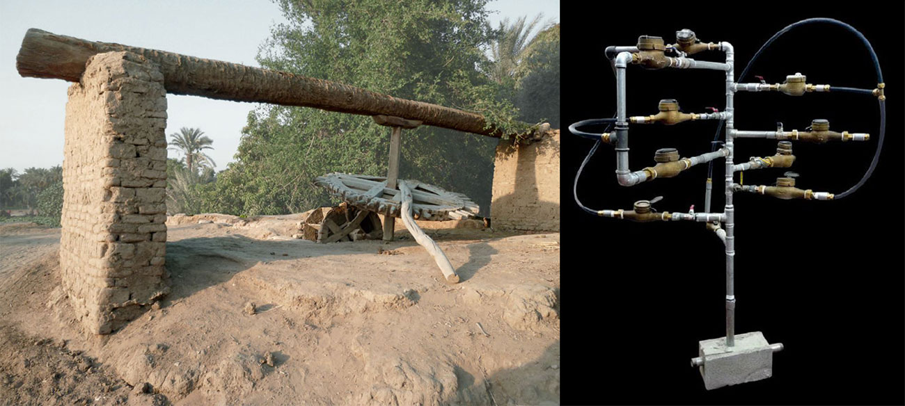 1. Sakieh, système d'irrigation traditionnel, Zaouit-el-Karadissa, Fayoum, Egypte, Enquête-collecte © Edouard de Laubrie, 2011 / 2. Sculpture - water meter tree, Sigalit Landau, 2013, Art contemporain © Collection Mucem