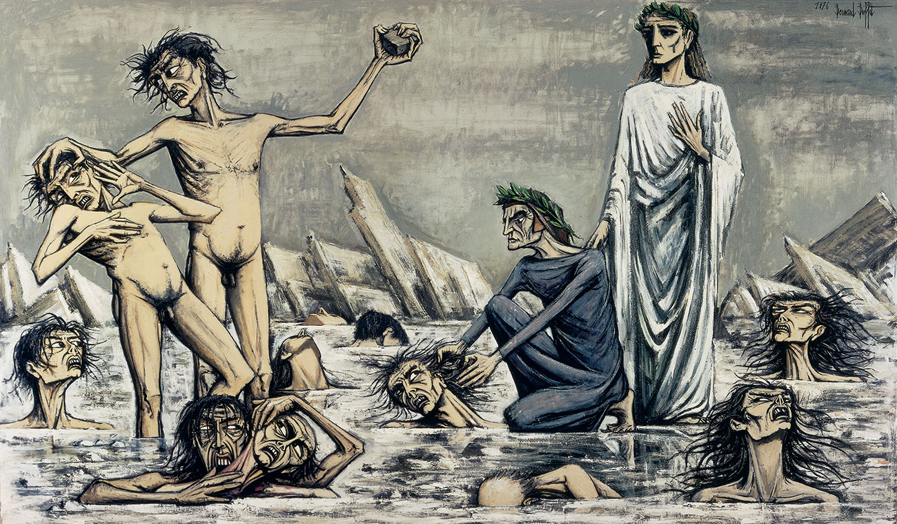 Bernard Buffet, L'Enfer de Dante – Damnés pris dans les glaces, 1976. Oil on canvas. Collection Fonds de dotation Bernard Buffet, Paris © Bernard Buffet / Adagp, Paris 2019