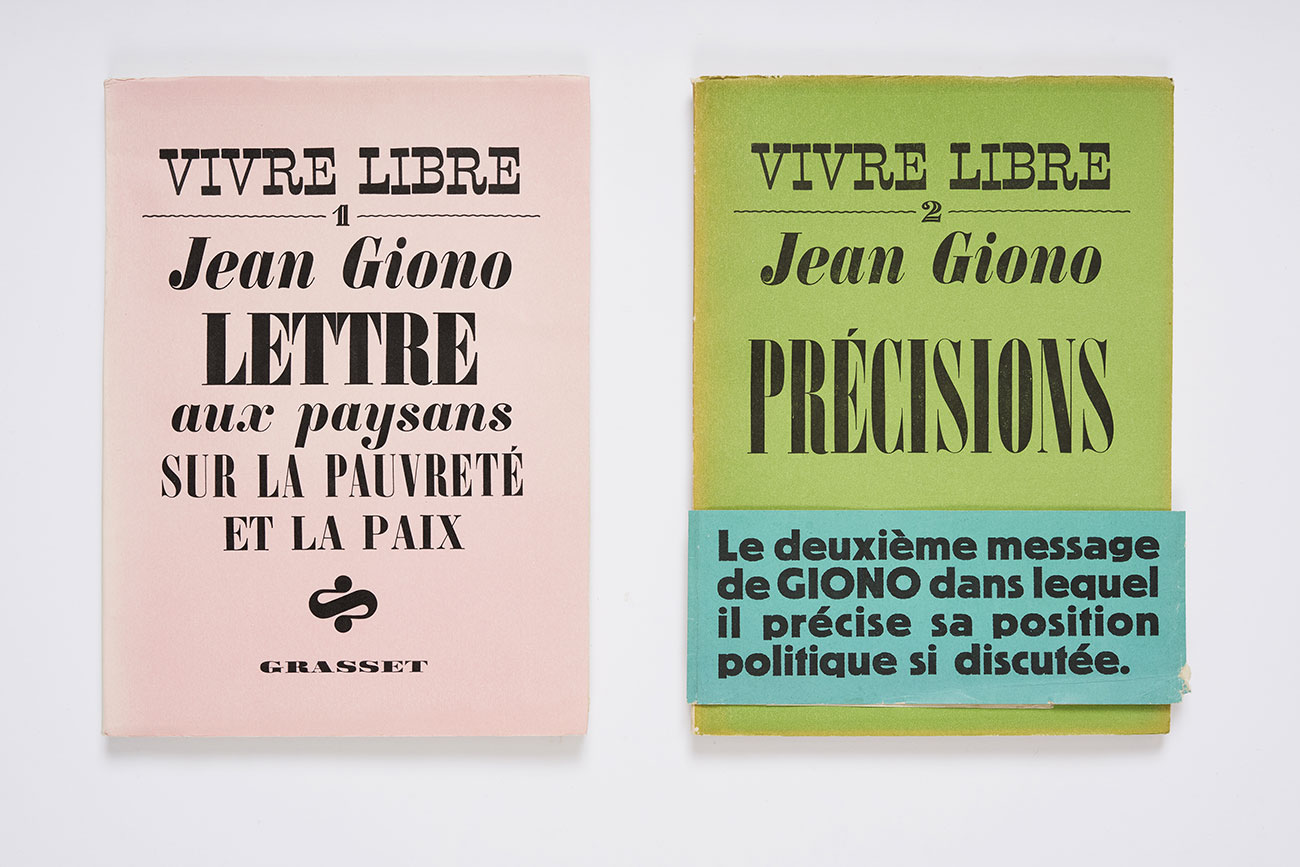 Covers of Vivre libre, Grasset, 1938-1939. Association des Amis de Jean Giono, photograph © David Giancatarina
