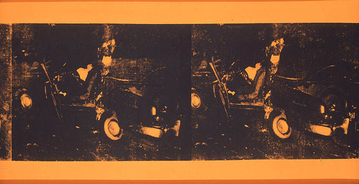 Andy Warhol, Car Crash, 1963. Sérigraphie sur toile, 71 × 136,5 cm. Lieu d'Art et d'Action Contemporaine (LAAC), donation de l'association L'Art contemporain, Dunkerque © The Andy Warhol Foundation