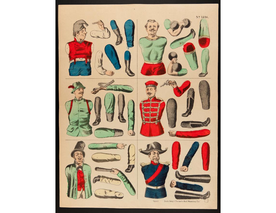 Personnages à assembler, non daté, imprimeur Burckardt C., Wissembourg, lithographie (colorié), 33.6×43.1 cm, 1971.59.26 ©Mucem
