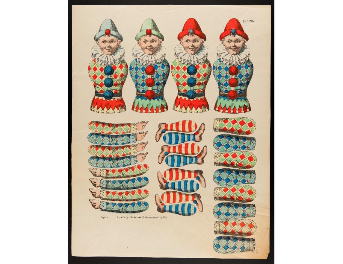 Arlequin à assembler, non daté, imprimeur Burckardt C., Wissembourg, lithographie (colorié), 33.6×42.8 cm, 1971.59.36 ©Mucem