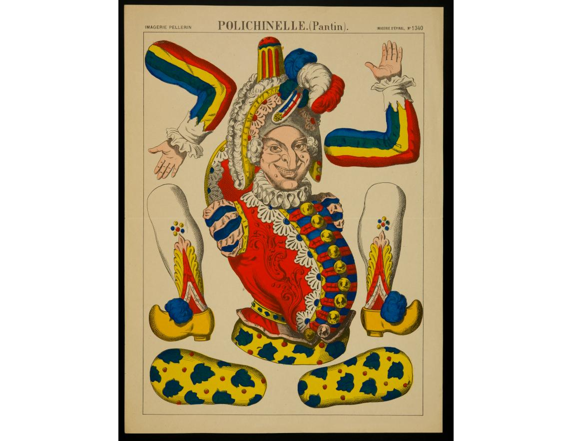 Polichinelle. (Pantin), non daté, imprimeur Pellerin, Épinal, lithographie (colorié), 29.8×40 cm, 1982.3.339 ©Mucem
