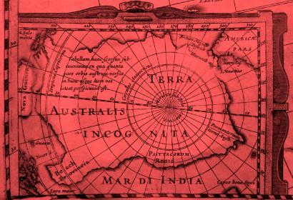 Terra Australis © J. Hondius, Nouveau théâtre du monde, ou nouvel atlas comprenant les tables et descriptions de toutes les régions de la terre, Amsterdam, 1640 (cote BM Lille : 52628)