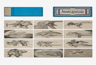 """Anamorphoses"", optical toy made up of 12 lithographs. Sedallian, 1869. Paper, card. Massilia Toy, Marseille © Yves Inchierman"