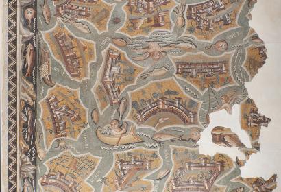 Mosaïque aux îles © Institut national du patrimoine, Tunisie Photo, Rémi Benali