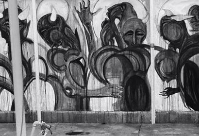 M. Mahdi Hamed Hassanzada, Div, Kaboul, 2015. Fresque réalisée sur un mur du Cactus Cafe, 2 m x 20 m. Jugée blasphématoire, cette fresque est détruite un an plus tard © M. Mahdi Hamed Hassanzada