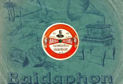 """Pochette d'un des premiers 78 tours produits par le label levantin Baidaphone en 1907. Le disque présente Farjallah Baida (1880-1933), un chanteur libanais, qui interprète """"Ya Ghazali Kayf Ani Abaadouk"""" (O Gazelle comment t'ont ils éloignée de moi), poème très populaire depuis le XIXe siècle, dans lequel il improvise en arabe littéraire. AMAR - Foundation for Arab Music Archiving & Research © AMAR"""