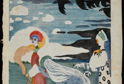 Vassily Kandinsky, Die Raben [Les Corbeaux], 1907. Linogravure. Centre Pompidou, Musée national d'art moderne - Centre de création industrielle, Paris © Centre Pompidou, MNAM-CCI, Dist. RMN-Grand Palais / Georges Meguerditchian