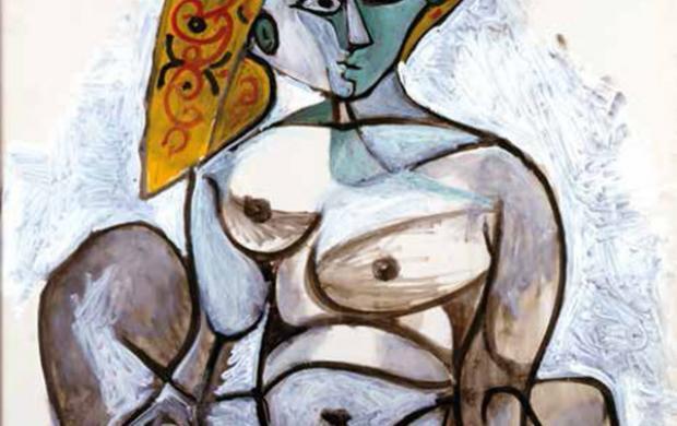 Pablo Picasso, Femme nue au bonnet turc, 1er décembre 1955. Donation Louise et Michel Leiris, 1984—Musée national d'art moderne / Centre de création industrielle—en dépôt au musée national Picasso-Paris. Photo © Centre Pompidou, MNAM-CCI, Dist. RMN-Grand Palais / Béatrice Hatala © Succession Picasso 2017