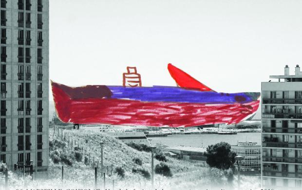Carte postale extraite du projet « Paysages à découper », proposé par l'artiste Alice Ruffini et accompagné par Arts et Développement avec des habitants du quartier Consolat, un des huit groupes du projet Voyage&Mix imaginé par le Mucem © Alice Ruffini
