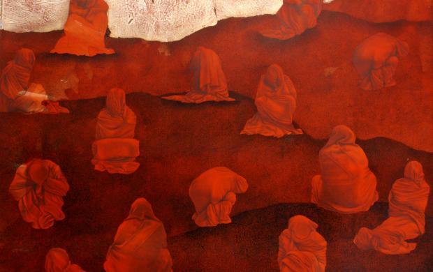 Mohsin Taasha, série « Tavalod-e dobareh-ye sorkh » [La renaissance du rouge], Kaboul, 2017. Gouache et feuilles d'argent sur papier wasli, 70 x 56 cm. Collection de l'artiste © Mohsin Taasha