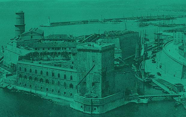 « Marseille, le fort Saint-Jean et la rade », carte postale, vers 1910