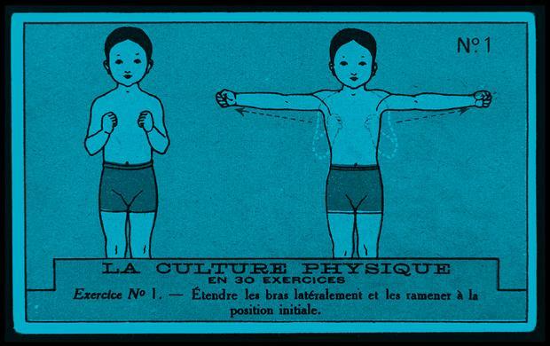 LA CULTURE PHYSIQUE EN 30 EXERCICES Exercice N° 1., 1ère moitié 20e siècle, René Vincent, dessinateur et affichiste, chromolithographie sur carton, 10.6 x 6.5 cm, 1996.40.804.1